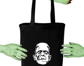 Frankenstein Monster VoodooSugar Black Canvas Tote Bag