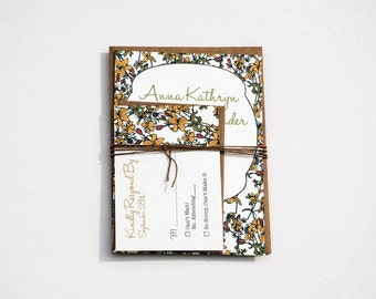 The Kathryn Collection - Vintage Inspired Rustic Floral Wedding Invitation Set in Gold, Brown, Pink and Green with Kraft Envelopes - SAMPLE