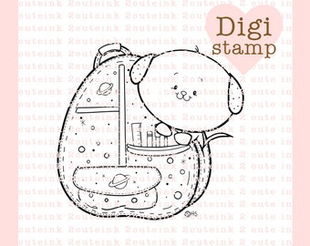 Doggie Backpack Digital Stamp for Card Making, Tags, Paper Crafts, Scrapbooking, Hand Embroidery, Invitations, Stickers, Cookie Decorating