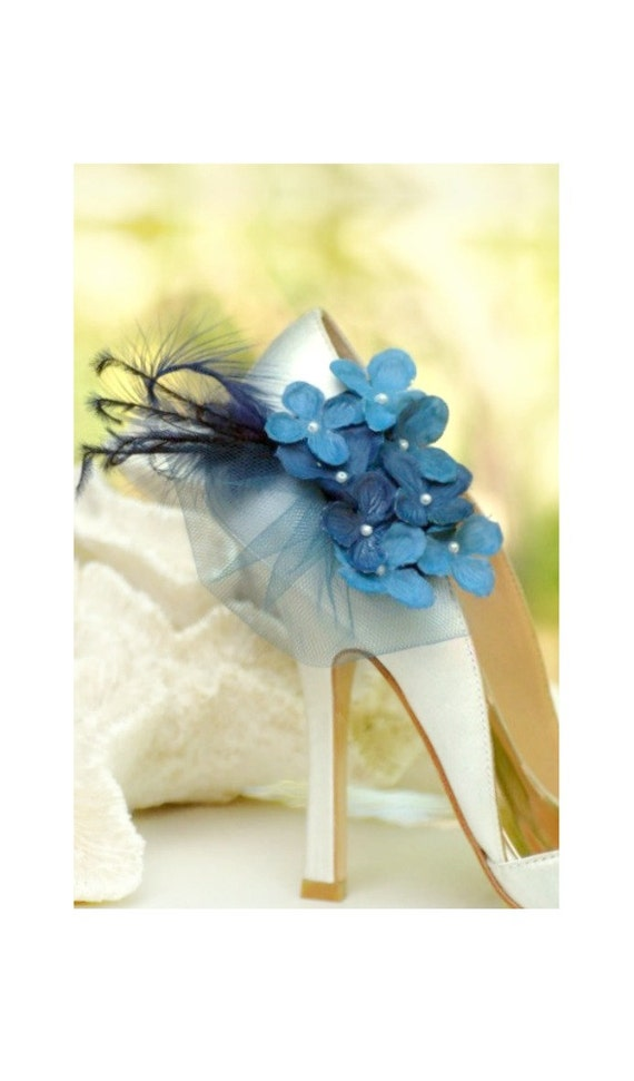 Shoe Clips MIDNIGHT NAVY BLUE Hydrangeas. Spring Bridesmaid Bride Gift, More: red lavender green hot pink ivory, Pearl Feather Tulle Couture