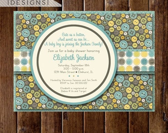 Shabby Style Cute as a Button Baby Shower Invite, Button Invitation, Button Baby Shower Invitation, Button Invite, Boy Baby Shower Invite
