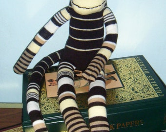 Yellow and Black Striped Sock Monkey