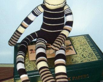 Yellow and Black Striped Sock Monkey