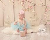 Baby Girls Birthday Tutu Dress Outfit  Sweet Baby Blue Tutu and Flower Headband for Baby Girls