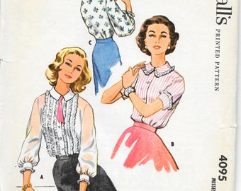 """McCALL'S 4095 Size 14 Bust 34"""", Vintage 1950's Ruffle Front Tuxedo Peter Pan Collar Long and Short Sleeve Lace Edge Blouse Pattern Retro"""