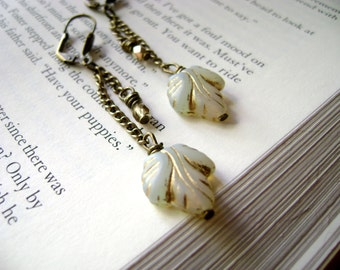 Long leaf earrings antique brass chains opal white grey golden inlays leaf and golden beads earrings - boho vintage inspired earthy earrings