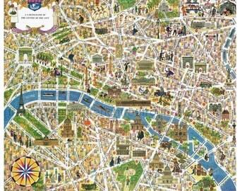vintage french illustrated map Paris france digital download