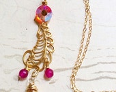 Gold Feather Necklace Hot Pink Orange Boho by MinouBazaar