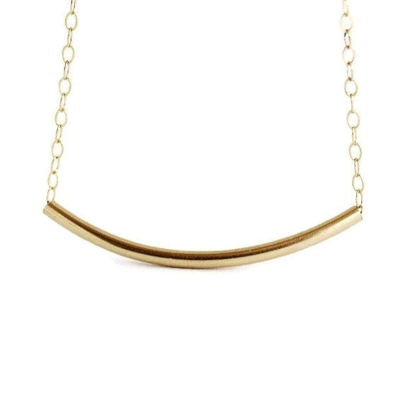 Gold Filled Tube Necklace -  Geometric, Modern, Minimal, Simple Necklace
