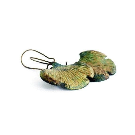 Ginkgo Earrings, Verdigris Patina, Brass Earrings, Ginkgo Leaf Earrings, Leaf Jewelry, Retro Leaves, Rustic Patina Leaves, Green Ginkgo Leaf