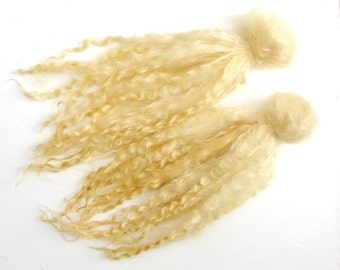 golden yellow color extra long Lincoln locks 1 oz for Doll Hair - Blythe Doll Hair, Art Dolls, blythe reroot  , spinning and felt