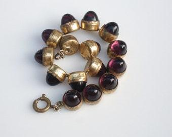 Art Deco Gilt Amythest Glass Bracelet