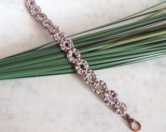 Boho Chic Floral Lace Bracelet in Tatting , Ethereal Woodland Fantasy , Whimsical , Lilac , Lavender , Olive Green - Bohemian Jewelry -Freya