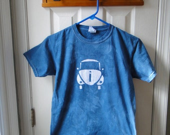 Kids Car Shirt, Blue Car Shirt, Boys Car Shirt, Girls Car Shirt, Batik Car Shirt, Blue Beetle Shirt (Youth M)