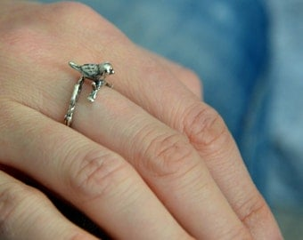 Sparrow and Twig Adjustable Ring - Sterling Silver White Bronze -Silver Bird Ring - Animal Jewelry