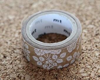 White Flower Tape, Japanese Washi Paper Masking Tape, mt fab, Wax Brwon Paper, Planner Washi, Cute Journal Washi, Romantic Card Deco Tape