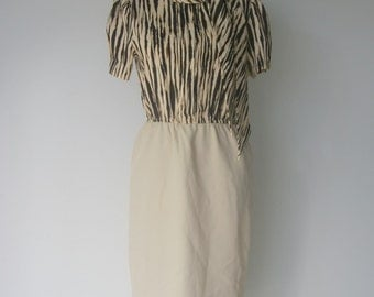 Vintage 1970s Animal Print Secretary Dress