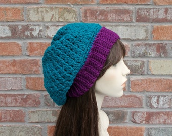 Womens Slouchy Beanie, Dark Teal Blue and Purple Crochet Hat, Hats for Women, Teen Girl Gifts, Fall Hats, Winter Hat, Knit Hat, Blue Hat