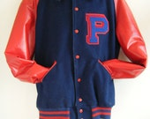 1960s classic varsity letterman jacket in red and navy, mens size xl 44