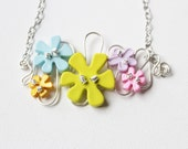 Pastel Flower Necklace - Pink Blue Yellow Lime Green Lavender - Button Necklace - Jenniflair Jewelry