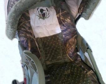 Duck Lover Advantage Max 4/Tan and Green Minky Dot Mallard Duck Monogram Stroller Cover