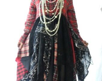 Duster Kimono Jacket, Gypsy vagabond, Lagenlook dress, Bohemian prairie, RESERVED patchwork, Tartan, lace, romantic, true rebel clothing
