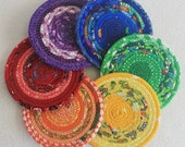 Rainbow Coiled Fabric Coasters / Coiled Rope Coasters / Absorbent Coaster Set / Gypsy Bohemian / set of 6 / by PrairieThreads