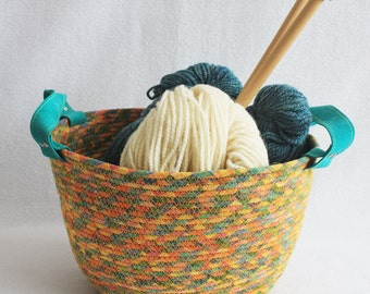 Fabric Coiled Clothesline Basket with Leather Handles / Rope Coiled Basket / Extra Large Oval Fiesta by PrairieThreads