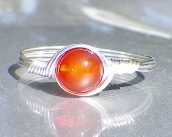 Carnelian Argentium Sterling Silver Wire Wrapped Ring
