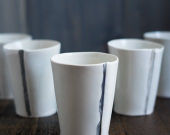 Handmade Porcelain Cups with Marble Stripe // Whiskey, Wine, or Juice