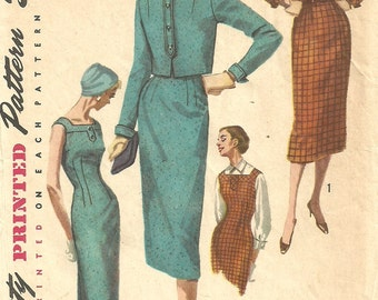 Simplicity 1768 / Vintage 50s Sewing Pattern / Dress And Cropped Jacket / Size 11