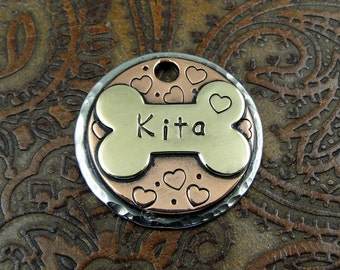 Small Dog Tag, Dog ID Tag, Bone, Heart, Custom Dog Tag