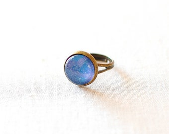 SALE -50% OFF. Speckled Blue Galaxy Ring. Universe Jewelry. Galaxy Jewelry.