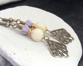 Ivory Melon-Shaped Czech Glass Bead Earrings - A.946