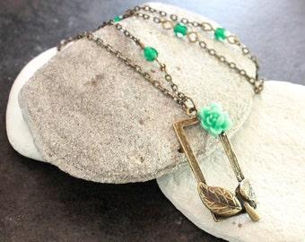 Aqua Resin Cabochon Bead Necklace - C.244