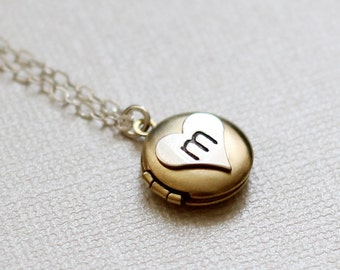 Tiny Initial Locket, Personalized Locket, Sterling Silver Initial Heart Necklace, Golden Locket Brass