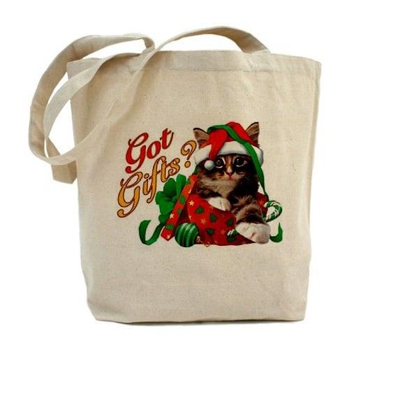 Christmas tote bag cotton canvas holiday gift