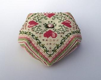 Hearts Biscornu - Cross Stitch Pattern for Instant Download