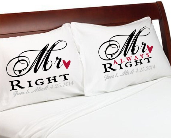 Wedding Gift Ideas For Gay Couples : MR Right MR Always Right Gay Couple Pillowcases Personalized Wedding ...