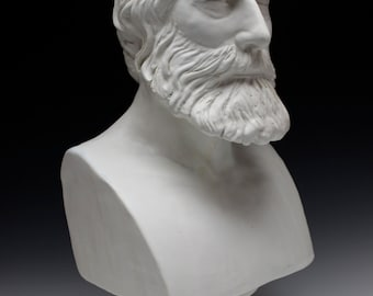 Custom Portrait Bust Sculpture Head, Made to Order Ceramic Figure Art Face with Classical Base
