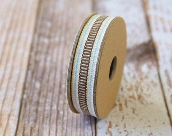 Brown LADDER STITCH fabric woven cotton blend ribbon