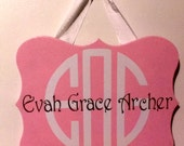 Monogrammed Quatrefoil Sign with Full Name, Available in any Color