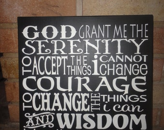 WaLL SiGn, SERENITY PrAyEr, TyPoGrApHy, SuBwAy ArT, HaNd PaiNtEd PrImiTiVe WooD SiGn, HoMe DeCor, Spring, HoUsEwArEs