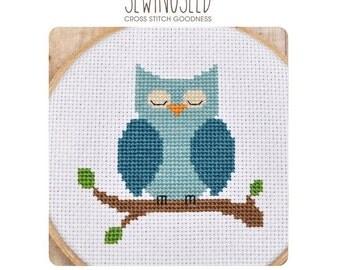 Cross Stitch Pattern, Owl Cross Stitch, Blue Owl, Instant Download, Nursery