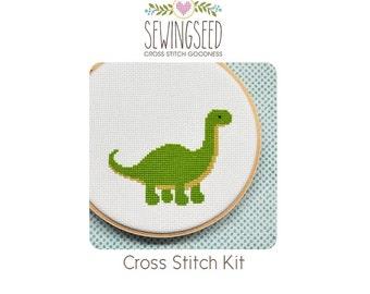 Dinosaur Cross Stitch Kit, DIY Kit, Embroidery Kit, Beginner Stitching Kit, Secret Santa Gift Idea