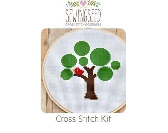 Circle Tree Cross Stitch Kit, DIY Embroidery Craft Kit