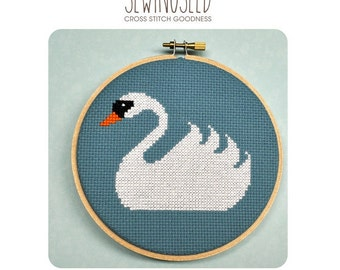 Swan Cross Stitch Pattern, Instant Download