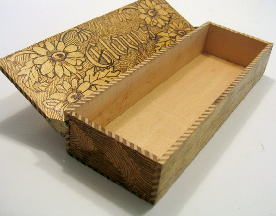 Wooden Glove Box ~ Antique glove box pyrography decorated by