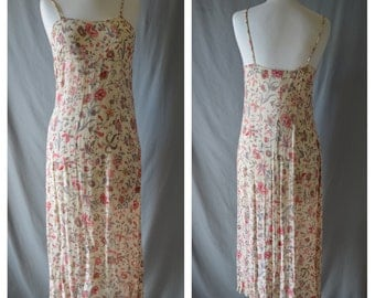 Vintage Club Monaco Floral Maxi Ankle Length 90s Grunge Pretty Sheer Dress