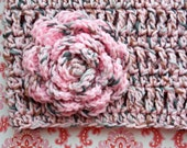 Crocheted Infinity Scarf, Cowl, Circle Scarf with Rose Brooch - Pink, Grey,Brown, Warm Accessory, Handmade Scarf